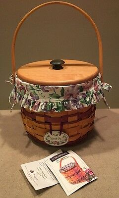 Longaberger 1996 May Series Sweet Pea Basket Full Combo + Lid Excellent!!
