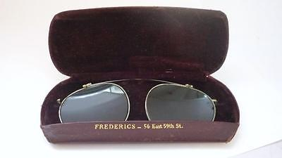 MORGENTHAL FREDERICS Clip On sunglasses overlay eyeglasses with original leather