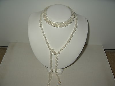 Vintage Long White Glass Seed Beads Flapper Lariat Necklace Belt