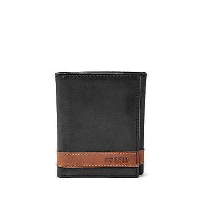 Fossil Original ML3645001 Black Quinn Trifold Leather Men's Wallet