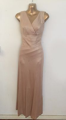 Pale gold stretchy satin long gown dress AU 12 comfortable party dinner events