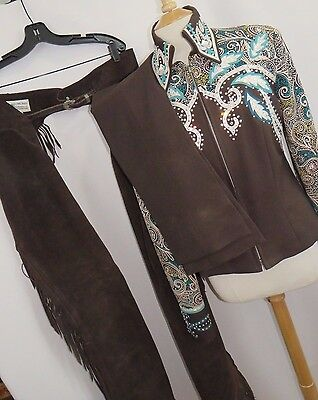 Dry Creek Designs 3 Piece Custom Western Show Outfit Jeweled Brown Teal PK