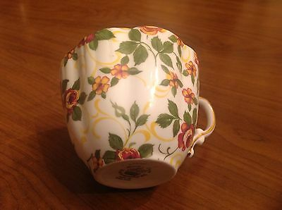 Vtg Hammersley & Co Bone China Cup Chintz Brown Yellow Floral England w Gilding