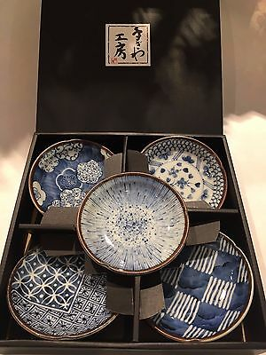 Japanese Plates of 5 Blue Somekoubou Ceramic Made in Japan NEW F/S