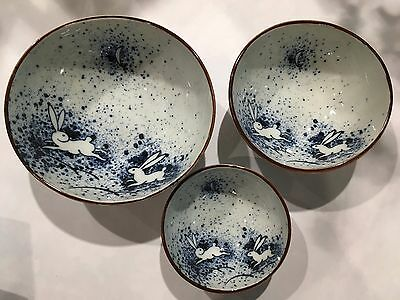 Japanese Bowls of 3 Rabbit Moon Blue Ceramic Made in Japan NEW F/S
