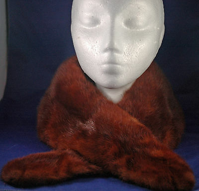 Vtg Reddish Brown Mink Fur Collar - Shaped From A Coat Or Sweater