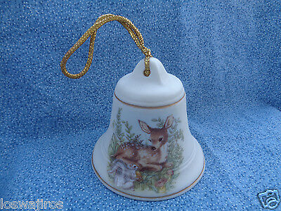 Christmas Ornament Collectable Ceramic Bell Cream w/ Deer / Fawn Decal 3""