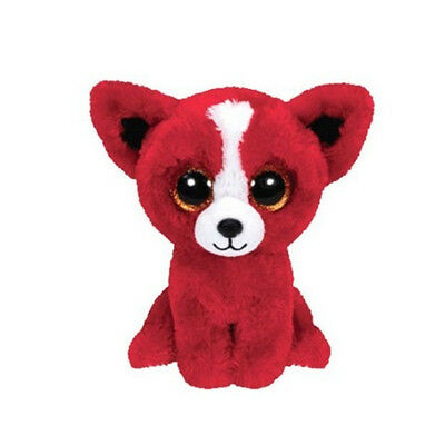 "6"" Cute Red Dog TY Beanie Boos Plush Stuffed Toys Glitter Eyes"
