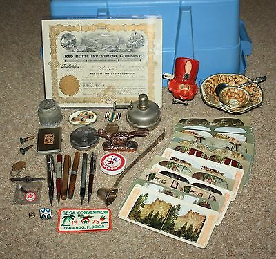 Antique Junk Drawer Find Pen Lighters Stereoviews Military Pins Oil Lamp Misc.