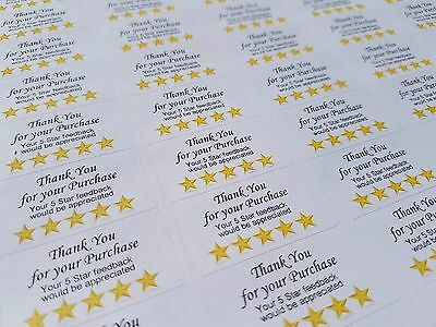 "130x CUSTOM ""5 STAR"" Feedback Labels for EBAY SELLERS - 38mm x 21mm - Matte"