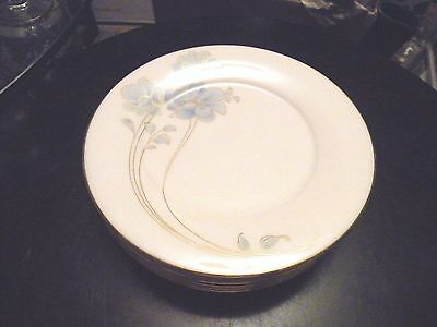 Set of 6 Noritake Bread and Butter Plates BLUE AND GOLD pattern 7703 MINT Cond