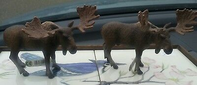 2 Brown Bull Moose in Standing Position by Schleich Figures