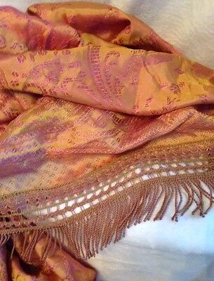 "Antique 1900s Italian Large Damask Silk 5"" FRINGE Bedspread Coverlet GOLD PINK"