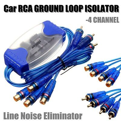 Universal 4 Channel RCA Ground Loop Isolator Line Noise Eliminator Remove Filter