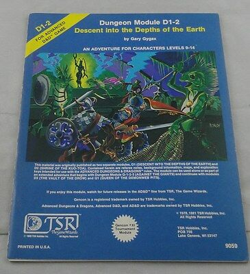 Advanced Dungeons & Dragons Module Descent into the Depths of the Earth D1-2