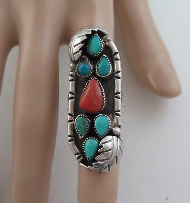 Large Old Pawn Sterling Silver Turquoise Cluster & Coral Ring - Size 6
