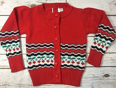 Vintage 80s Hartstrings Red Cherry Heart Cardigan Novelty Sweater Girls Size 5/6