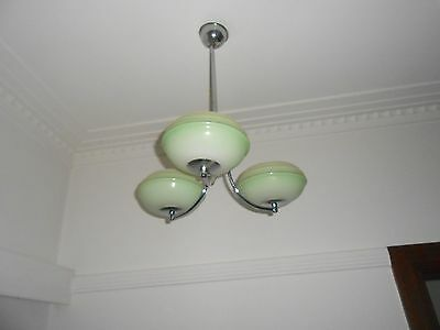 Art Deco chrome light fitting with 3 green glass bowls