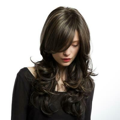 Ladies Long Synthetic Hair Wig Full Head Fashion Highlight Curl Wavy Wig New