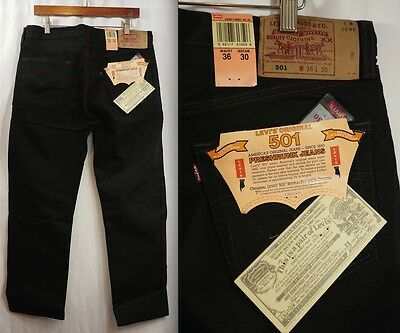 Deadstock Vintage 90s LEVIS 501 BUTTON FLY JEANS - BLACK 36/30 1994 USA 80s