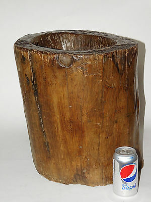 Original, Antique Used primitive tribal LARGE Wood Mortar from the Philippine