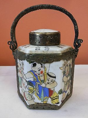 Antique Chinese Tea Caddy Hexagonal shape Hand Paint