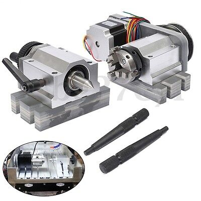CNC Router Rotational Rotary Axis A-axis 4th-axis 50mm 3-Jaw Chuck & Tail Stock