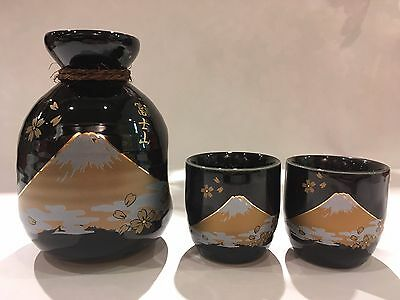Mt. Fuji Black Sake Set 1bottle + 2cups Made in Japan New F/S