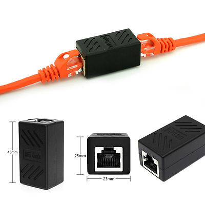1/2PC Extender Female to Female RJ45 Internet Cable LAN Connector Adapter