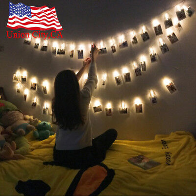 LED Photo Clip Fairy String Lights Battery Operated for Bedroom Hanging Cards