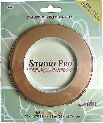Copper foil tape for stained glass work, full roll 33m best quality Studio Pro