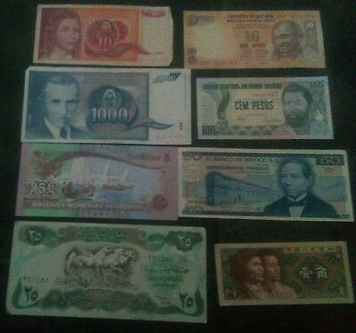 8 Collectible World Bank note's