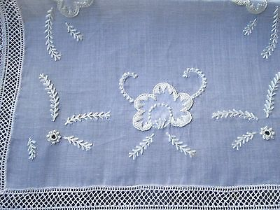Antique hand embroidered runner/flower and lace border,on organza