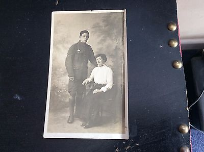 Ww1 British Soldier And Sweetheart Real Photo Portrait
