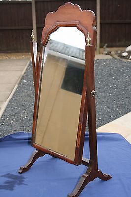 Antique Small Victorian Mahogany Cheval Mirror