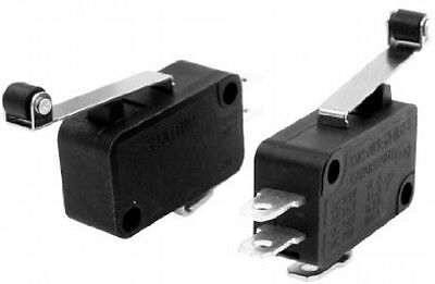 2x SPDT Long Hinge Roller Lever Momentary Micro Limit Switch AC250V/6A