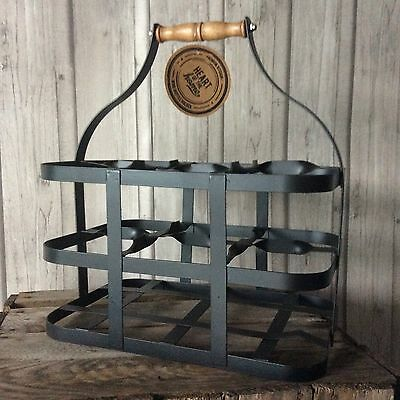 Vintage Style Wine Champagne Bottle Holder / Crate Black 6 Bottles