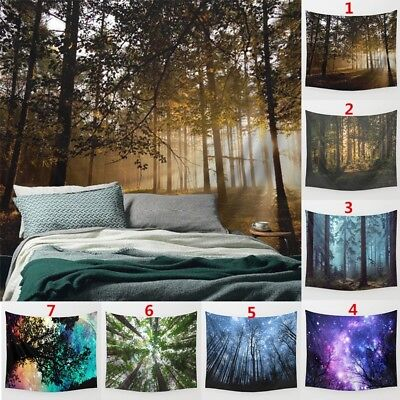 Forest World Map Tapestries Wall Hanging Tapestry Hippie Bedspread Dorm Decor