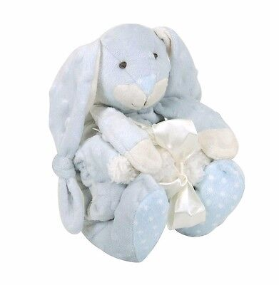 SOFT Baby Blue Bumpy Bunny Plush Toy  & Security Blanket - 2 PIECE GIFT SET!