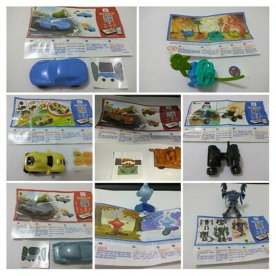 PACK OF 8 KINDER JOY TOYS WITH PAPERS UNBUILT TRANSFORMER disney cars bunny colo