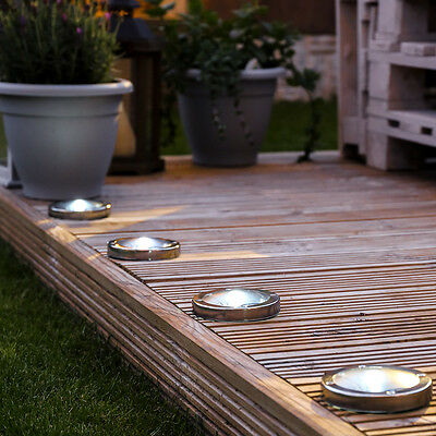 Festive Lights Solar Power Outdoor Stainless Steel Decking Pathway Spot Lights