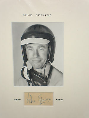 Mike Spence 1936~1968,Mounted Portrait Photograph with Very Rare Signature ,