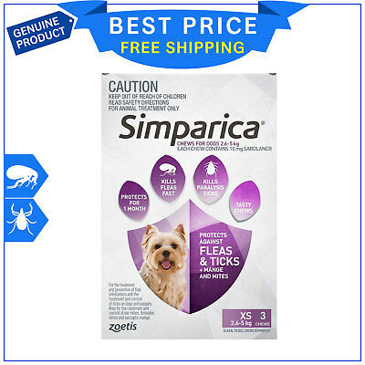 SIMPARICA for Dogs 2.6 to 5 Kg PURPLE Pack 3 Chews Flea and Tick treatment