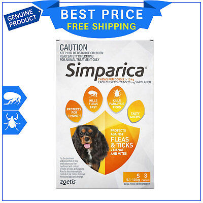 SIMPARICA for Dogs 5.1 to 10 Kg ORANGE Pack 3 Chews Flea and Tick treatment