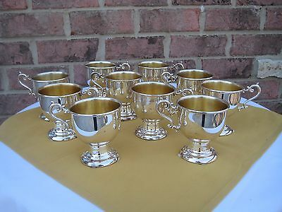 Set Of 10 Silver On Copper Goblets Antique Silverplate