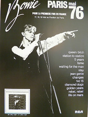 David Bowie concert poster - Very nice Paris May1976 A3 size promo