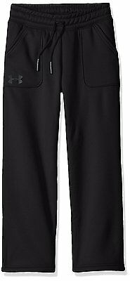 Under Armour Girls' Pants Fleece Boyfriend Pants, Black/Stealth Gray - Youth
