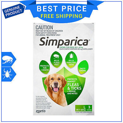 SIMPARICA for Dogs 20.1 to 40 Kg GREEN Pack 3 Chews Flea and Tick treatment