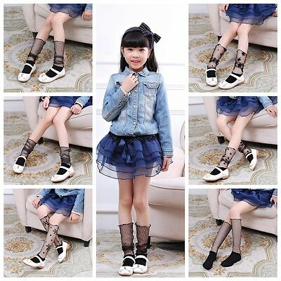 Hot Lace Children cylinder yarn Short Socks Baby High Socks Chiffon High Socks