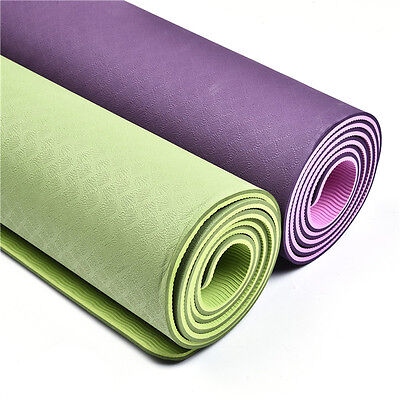 6MM TPE Two-Tone Double-layer Yoga Mat Gym Body Shaper Fitness Workout Non-slip